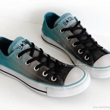 ombr dip dye converse graphite grey turquoise low tops tie dye sneakers upcycled