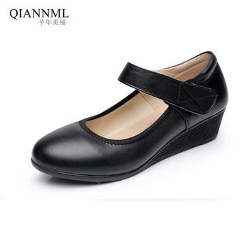 New 2017 Spring Summer Genuine Leather Women's Wedges Shoes Breathable Pumps Women Office Kitten Heel Shoes