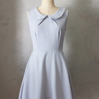 PROVENCE GRAY - Round collar dove gray fit & flare dress / bridesmaids / neck pleat / pockets/ vintage inspired / day / spring / party