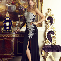 G2038 Black One Sleeve Jeweled Prom Pageant Dress Evening Gown