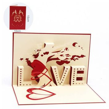 Valentines Day Greeting Cards 3D Pop Up Card LOVE Heart Tree Kirigami Laser Cut Handmade Paper Cut Folded Postcards