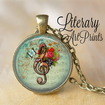 G CLEF Necklace Pendant Vintage Floral Music Note Glass Pendant Handmade Jewerly Musical Pendant Musician Gifts Floral flowers necklace