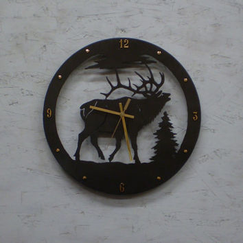 Wall Clock, Wildlife BUGLING BULL Elk Clock Metal Art - Cabin Home Decor - Standing in the woods - Black Silhouette Wall Decor Wall Clock