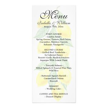 Modern Boho Lemon Summer Wedding Menu Card