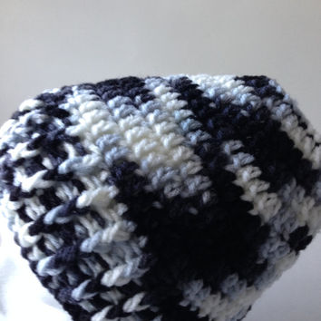 Bun Hat - Black and White - Pony Tail Hat - Crochet Bun Beanie - Handmade Crochet - Ready to Ship