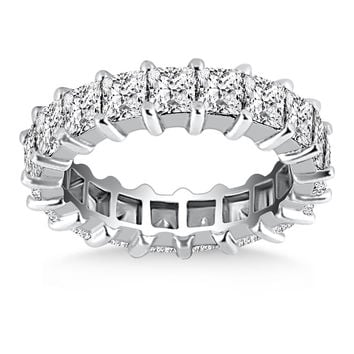 14K White Gold Common Prong Princess Cut Diamond Eternity Ring 3.6mm