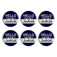 Jadiel Hello My Name Is Plastic Resin Button Set of 6