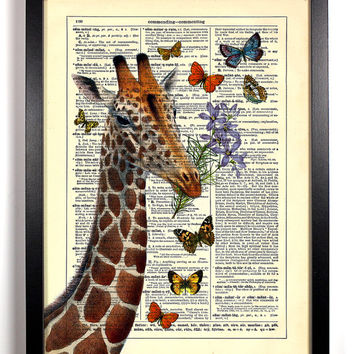 Giraffe and His Friends, Vintage Illustration, Eco Friendly Home, Kitchen, Bathroom, Nursery Decor, Dictionary Book Print Buy 2 Get 1 FREE