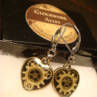 Small Clockwork Gears Vintage Watch Part Gears Heart Steampunk Style Leverback Earrings (1718)