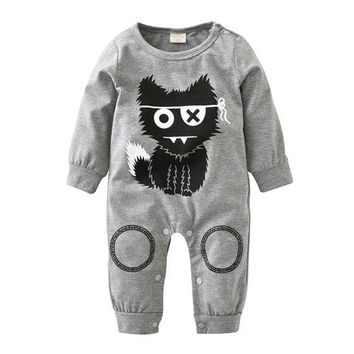 New 2018 Autumn Baby Boy Clothes Unisex Long sleeve Little Monsters Baby Romper Newborn Toddler Baby Girl Clothing Set