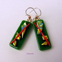 Pieces O' Gold Green Dichroic Handmade Glass Dangle Earrings with Sterling Silver Ear Wires