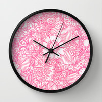 Henna Design - Pink Wall Clock by haleyivers | Society6
