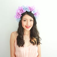 blue purple flower crown // floral headpiece, festival headband, statement, lavender, lana del rey