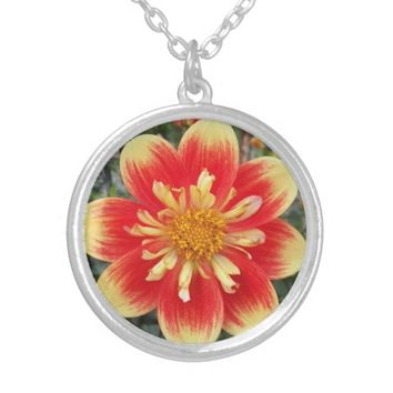 Orange Collarette Dahlia Floral Silver Plated Necklace