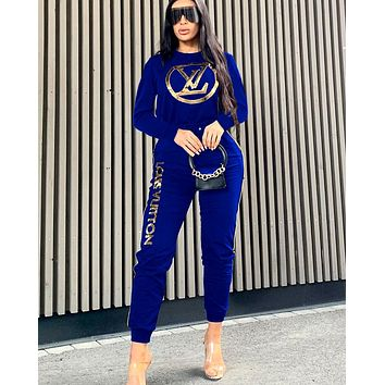 Free shipping-LV new women's sports suit two-piece Blue
