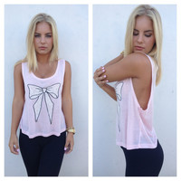 Pink Bow Muscle Tank