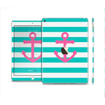 The Teal Striped Pink Anchor Skin Set for the Apple iPad Air 2