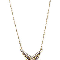 FOREVER 21 Rhinestoned V-Drop Necklace Burnished Gold One