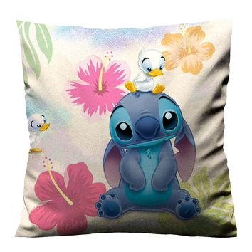 LILO STITCH FLOWER Cushion Case Cover