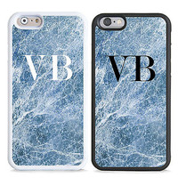 PERSONALISED MONOGRAM BLUE MARBLE INITIALS HARD CASE COVER FOR MOBILE PHONES