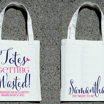 Personalized Totes Getting Wasted Bachelorette Party Tote - Wedding Welcome Tote Bag