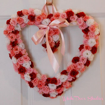 Valentine's Day Rose Wreath, Front Door Wreath, Heart Wreath, Mini Rose Wreath, Wedding, Girl's Room