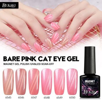 BUKAKI1pcs Pink Color Cat Eye Nail Gel Polish Nail Art UV Gel Varnish Glitter Magnetic Lacquer Hybrid French Manicure Nail Glue