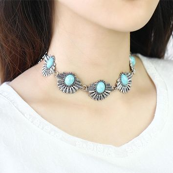2016 Boho Collar Choker Silver Leaf Necklace Jewelry for Women Vintage Ethnic Style Bohemian Beads Necklaces