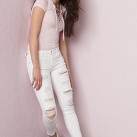 Destroyed White Ankle High Waist Jegging