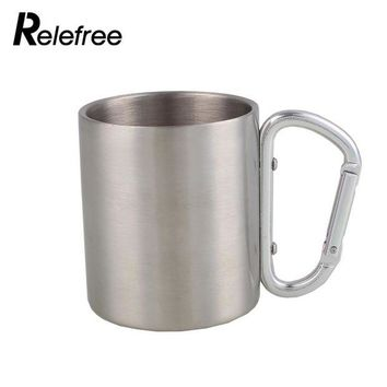 DCCK7N3 Relefree 200ml Stainless Steel Mug with Foldable Self-lock Carabiner Handle Folding Handle Cup For Outdoor Camping Hiking