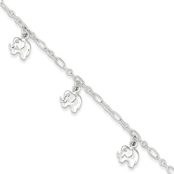 Sterling Silver Polished Elephant Bracelet - Children's Jewelry