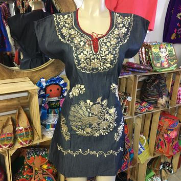 Mexican Denim Embroidered Mini Dress with gold