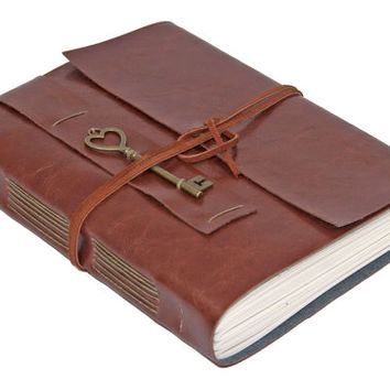 Large Brown Faux Leather Wrap Journal with Lined Paper and Heart Key Charm Bookmark