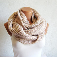 2014 Trend,Winter scarves,Vanilla Knitted Accessory infinity Scarf Block Infinity Scarf. Loop Scarf, Circle Scarf, Neck Warmer.