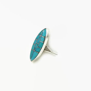 Turquoise Ring - Native American Sterling Ring - Turquoise and Silver Ring Size 5 - Oval Turquoise Ring