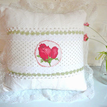 Rose Pillow - Shabby Chic Pillow - Cabbage Rose Pillow - Cottage Pillow - Rose Pillow