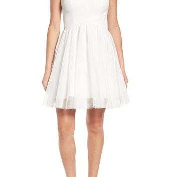 Blondie Nites Embellished Illusion Skater Dress | Nordstrom