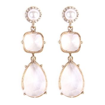 Square Pearshape Dangle Earring