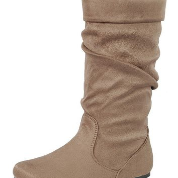 Ladies fashion ruched wedge, knee-high boot, closed almond toe
