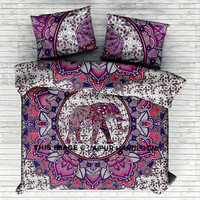 pink elephant mandala bedding set with matching pillow cases