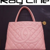 100% authentic CHANEL tote bag caviar skin reprint Pink Shoulder Bag/USED