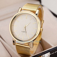 deals] 2015 new fashion  hot sale  gift Exquisite Women's Quartz Wrist watch Gold Mesh Band Watches = 5988015937