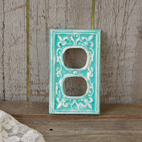 Double Outlet Cover, Shabby Chic, Double Wall Plate, Tiffany Blue, Aqua, Ornate, Fleur de Lis, Cast Iron