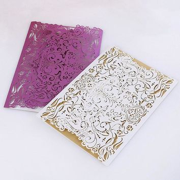 20pc/lot Wedding Invitation Card, Laser Cutted Elegant Lace Invitation Envelope Paper