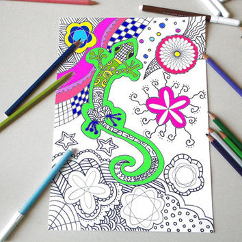 gecko adult coloring page lizard salamander instant download colouring drawing meditation zen printable геккон digital white lasoffittadiste