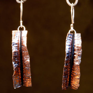 Fold Formed Copper Leaf and Sterling Earrings