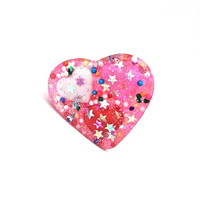Pink candy heart ring - sweet ring - pink heart ring - sweet lolita - glitter resin ring by Sparkle City Jewelry