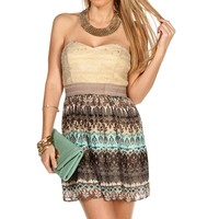 Promo-MintTaupe Strapless Short Dress