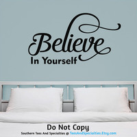 Believe In Yourself Personalized Word Art Vinyl Wall Decal Wall Words Motivational Phrase Wall Sticker