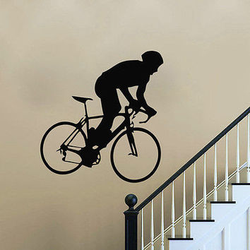 Bicycle Athlete Wall Decal Vinyl Stickers Home Decor Interior Bedroom Art LM17